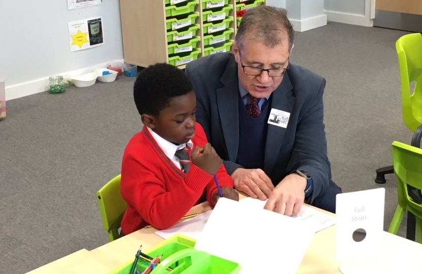 MP with Year 1 pupil