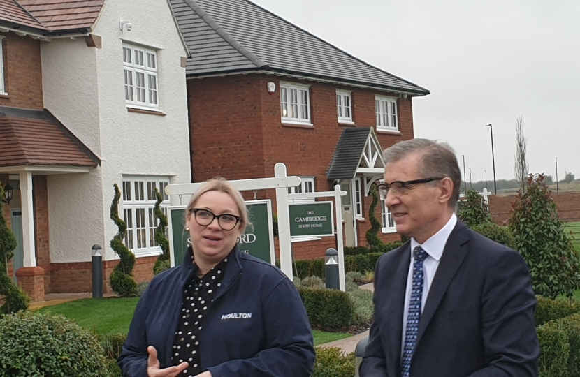 Rugby MP Mark Pawsey speaks to Urban&Civic's Communications, Communities and Partnerships Manager Johanne Thomas about housebuilding at Houlton