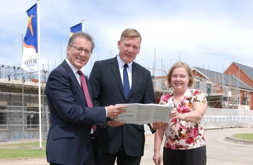 Housing Minister, Kris Hopkins with Mark Pawsey MP and Councillor Heather Timms